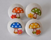 SALE 50% OFF EVERYTHING see shop announcement for details - mini mushrooms - set of four fabric button pushpins