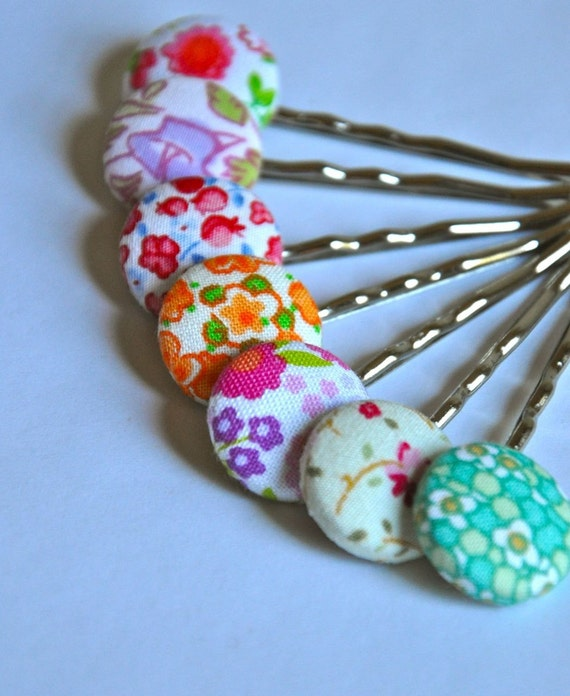 a flower garden of bobby pins - collection of seven fabric button bobbies