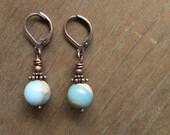 Copper Earrings, Jasper Earrings, Stone Earrings, Blue Earrings