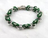 Green Interrupted Byzantine Chain Maille Bracelet