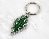Green European 4 in 1 Diamond Chain Maille Keychain