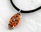 Orange Small Byzanclean Chain Maille Pendant -FREE Chain Included-