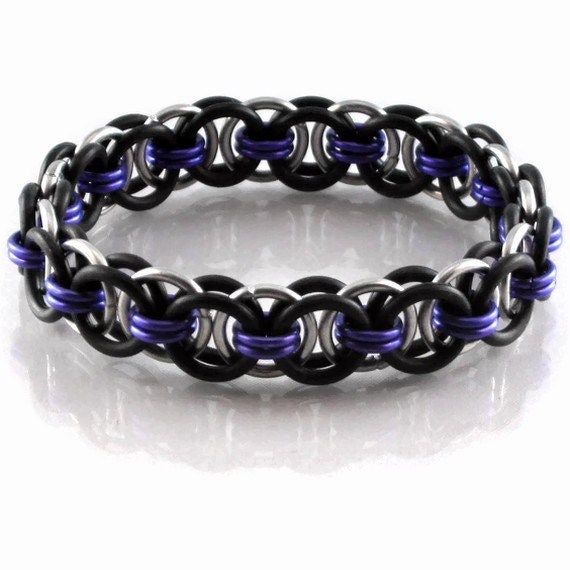 Black, Purple, and Silver Helm Chain Maille Stretchy Bracelet
