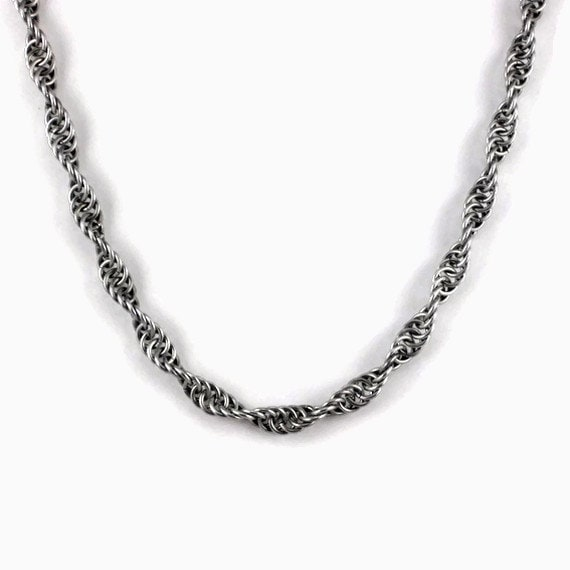 Silver Chain Maille Spiral Necklace