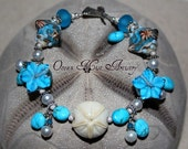 CLEARANCE - Caribbean Paradise Lampwork and Turquoise Bracelet