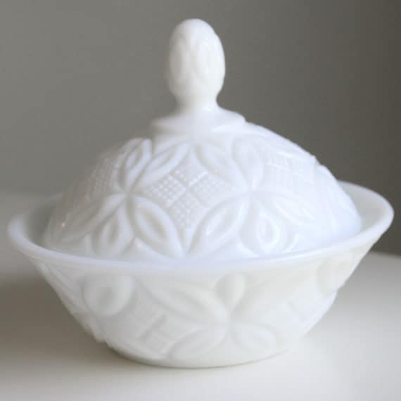 """Vintage Imperial Glass """"Quilted"""" Milk Glass Nut or Candy Dish - 1960's"""