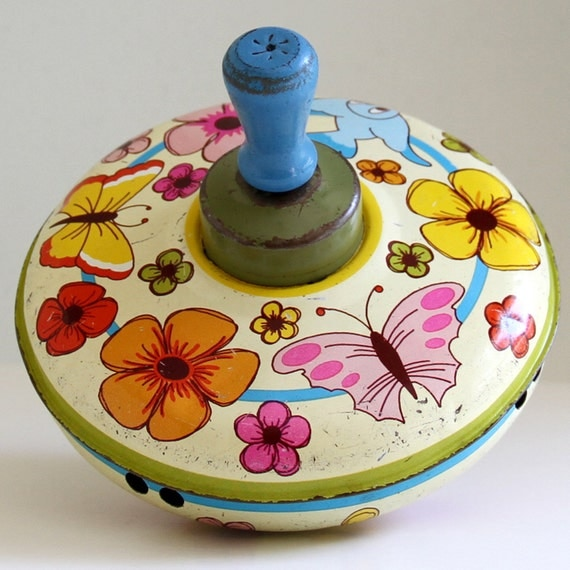 Small Vintage Tin Spinning Top, Flowers, Butterflies and Birds - 1960's