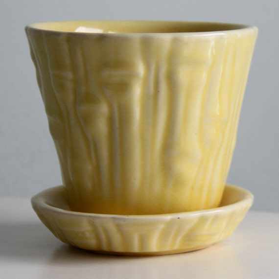 "Vintage 3.75"" Yellow McCoy Bamboo Planter - 1950's"