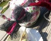 Classic Lolita Burlesque Maroon Double Lace Hair Bow