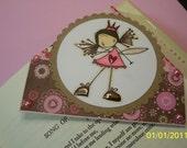 Handmade corner bookmark ketto red pink brown