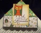 handmade corner bookmark-owl