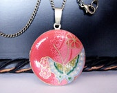 """Locket Necklace Blue Butterfly on Red Berry 2 - 32mm"""" Round 24"""" Bronze"""