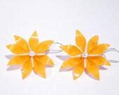 Kirigami Flower Earrings  Bright Orange