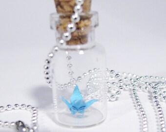 Origami Peace Crane Necklace Vial Pendant Necklace Turquoise Blue Crane Bottle Necklace