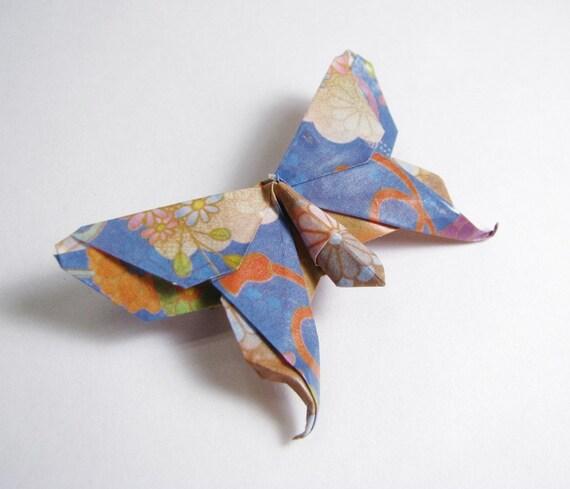 Origami Brooch Pin Butterfly - Cornflower Blue