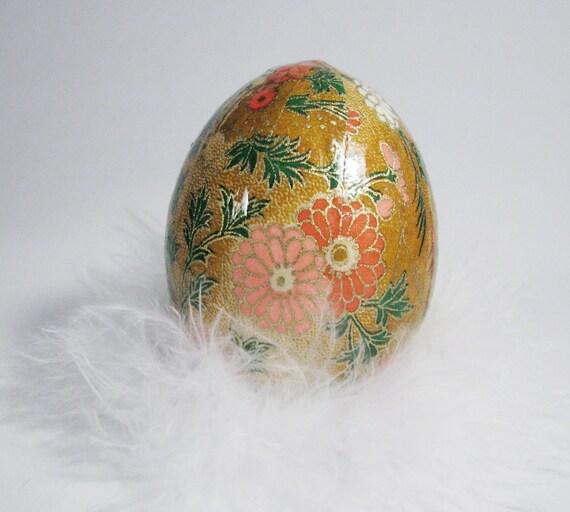 Washi Egg Japanese Paper Decoupage  - Autumn Golden Brown Floral
