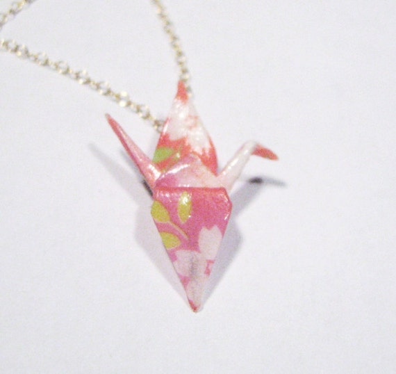 Miniature Origami Crane Necklace - Pink with White Flowers - Gold Fill Chain