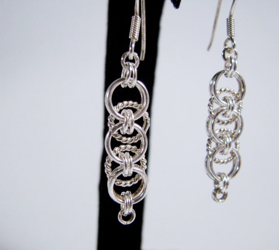 Twisted Chainmaille Earrings - helm weave - sterling silver