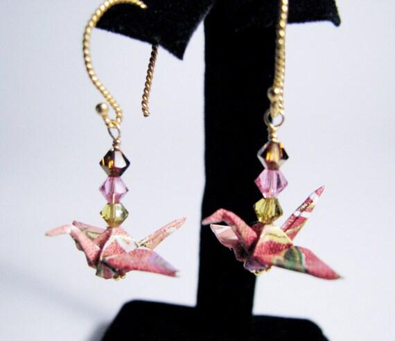 Origami Peace Crane Earrings w/ Swarovski Crystals OOAK - Vermeil