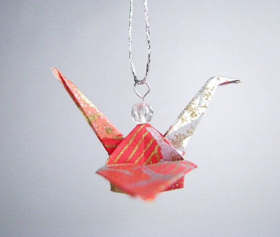Origami Crane Ornament - 2nd Burnt Orange Red with faceted bead