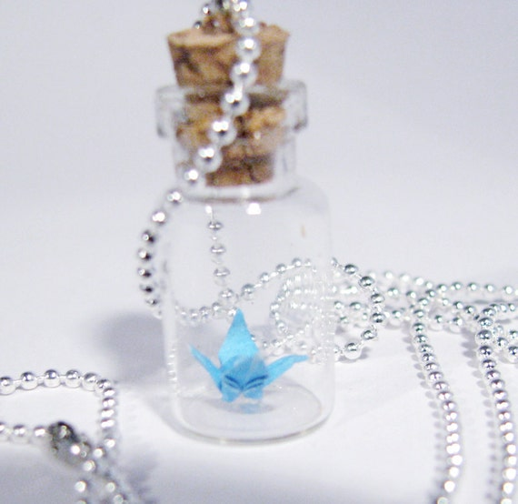 Origami Peace Crane Necklace Vial Pendant Necklace Turquoise Blue Crane Bottle Necklace