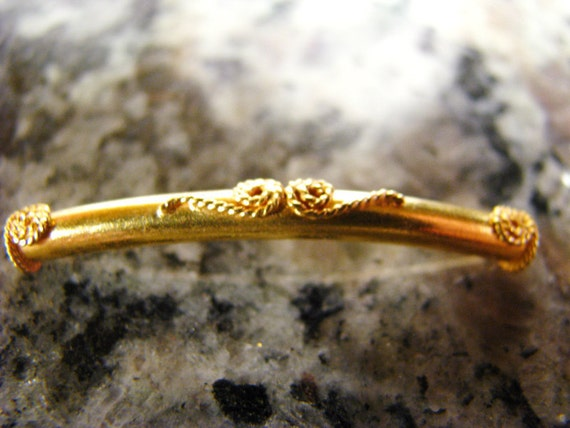 Clearance - 4 pcs Tube Bead for Bracelet Elbow Curve 35.5 x 4 mm 24 K Vermeil