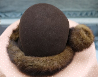 1940's Chocolate Wool Hat with Authentic Mink Fur Trim