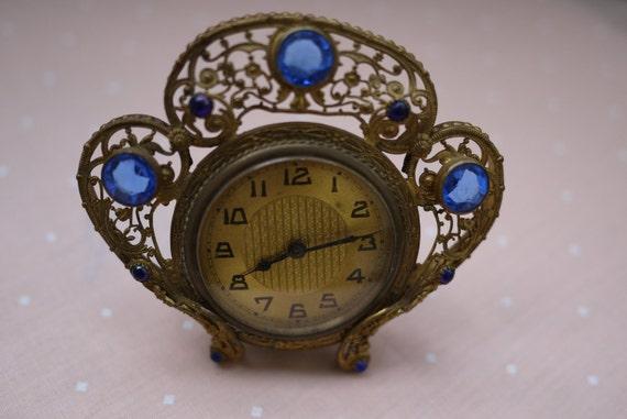 Antique 1800's Art Nouveau Clock on Stand