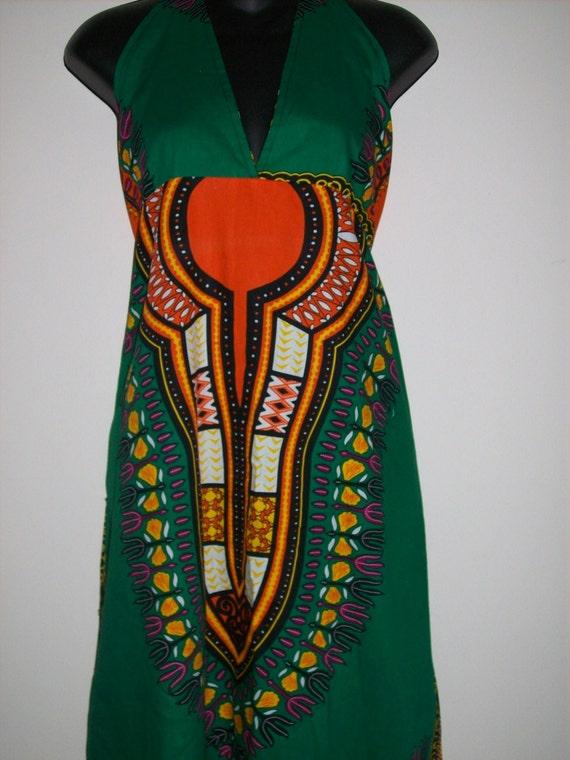 Green Dashiki Halter Dress, boho, hippie style