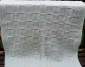 Checkered Hand Knitted Baby Blanket in soft mint green