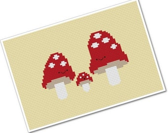Kawaii Mushroom Family - PDF Cross-stitch Pattern - INSTANT DOWNLOAD