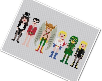 Justice League of America 2 - The *Original* Pixel People - PDF Cross Stitch Pattern - INSTANT DOWNLOAD