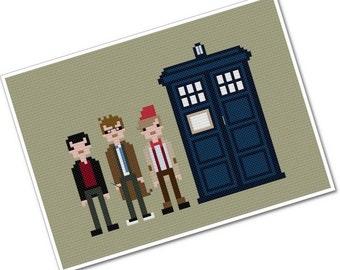Doctors Nine, Ten, & Eleven - The *Original* Pixel People - PDF Cross-stitch Pattern - INSTANT DOWNLOAD