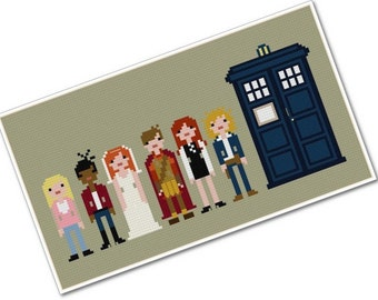 The *Original* Pixel People - The Doctor's Companions - PDF Cross-stitch Pattern - INSTANT DOWNLOAD