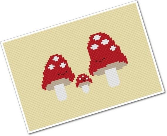 Kawaii Mushroom Family - PDF Cross-stitch Pattern - INSTANT DOWNLOAD