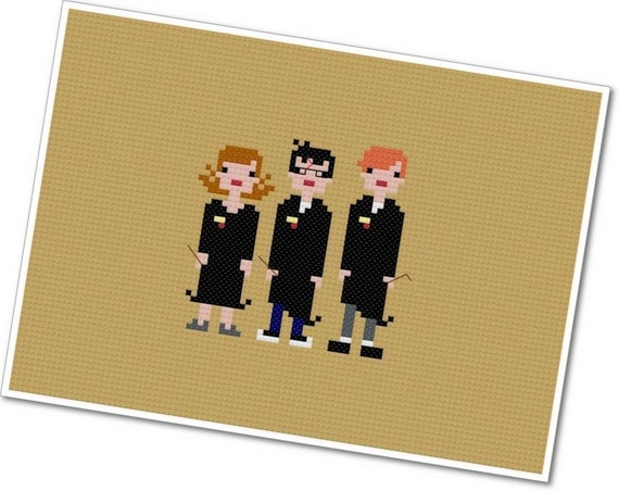The *Original* Pixel People - Harry, Ron, and Hermione - PDF Cross-stitch Pattern - INSTANT DOWNLOAD