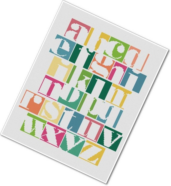 Modern Cross-stitch Alphabet Samper - PDF Cross-stitch Pattern - INSTANT DOWNLOAD