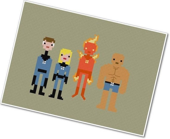 The Fantastic Four - The *Original* Pixel People - PDF Cross-stitch Pattern - INSTANT DOWNLOAD