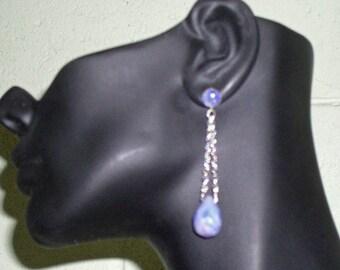 Opal Earrings - Sterling Silver Earrings - Handcrafted Blue Opal and Candy Jade Sterling Silver Earrings - One of a Kind Earrings