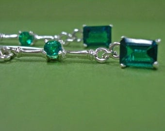 Emerald Earrings - Double Emerald Earrings - Emerald and Sterling Silver Dangle Earrings