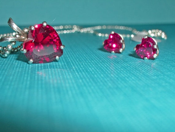 Ruby Necklace - Ruby Earrings - Red Heart Faceted Ruby Jewelry Set - Red Heart Necklace and Earrings - Red Ruby Jewelry Set
