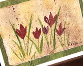 Mother's Day Card  Original Watercolor FREE Shipping in US Purple Crocus