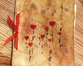 Handmade Journal Rustic Antiqued Paper Diary Hearts Scrapbook