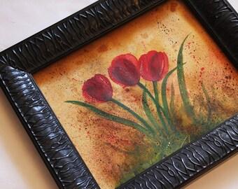 Tulips Painting Original Watercolor Tuscan Tulips
