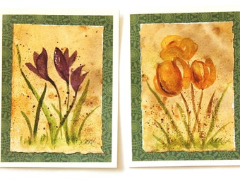 2 Original Watercolor Tulip Card Crocus Card