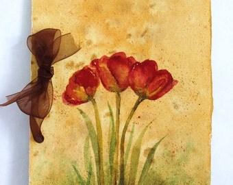 Original Watercolor Tulips Artists Diary Journal Scrapbook Memory Album