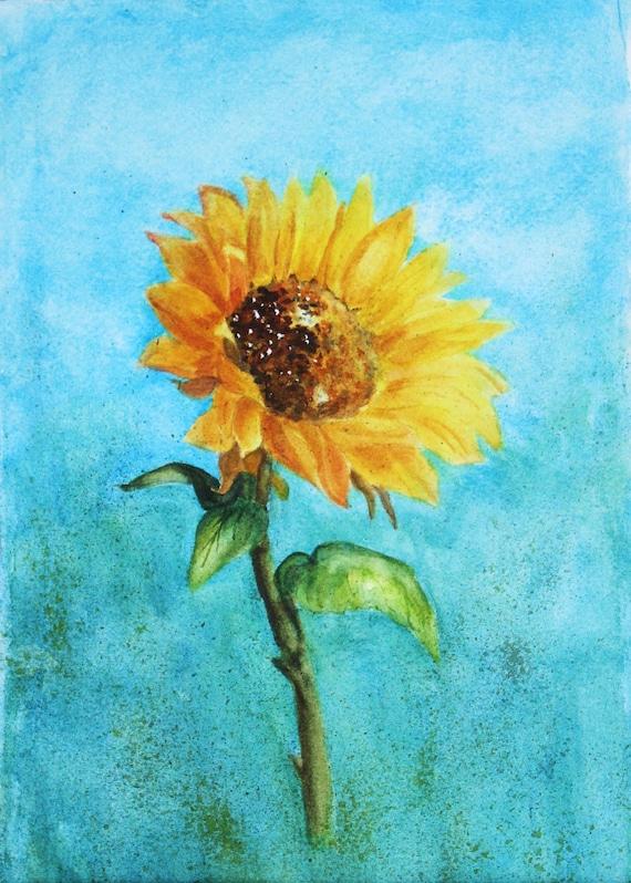 Original Watercolor Sunflower Painting Rustic Sunflower Art