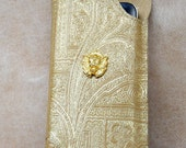 I Phone 4 case in gold solid leather with a lion golden label Perfect gift for her