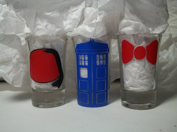 Police in a Box, Fez, and Bow Tie Set of 3 Shot Glasses