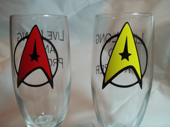 His and Hers Star Trek Champaign Glasses